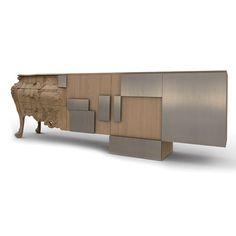 Aparador diseño de Ferruccio Laviani que ha querido trasladar al propio mueble su historia y evolución.