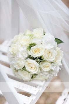 White roses and white hydrangea