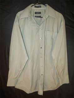 Mens XL Dress Shirt Button Up Light Green Long Sleeve Casual Stylish 17 34/35