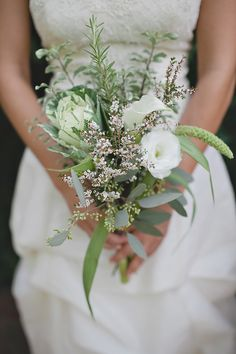 Greenery wedding bouquets are one of the hottest wedding trends in and they really bring a fresh touch to any bridal look. Such bouquets are suitable for woodland, rustic, vintage and any type of outdoor wedding. Small Wedding Bouquets, Rustic Wedding Flowers, Flower Bouquet Wedding, Floral Wedding, Bridal Bouquets, Flower Bouquets, Bridesmaid Flowers, Herb Bouquet, Purple Wedding