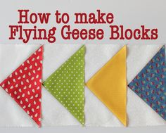Learn how to make a flying geese block using the sizing chart to work out how large you want them, then check out some ideas for joining them into blocks.