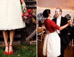 Warm red cardigan over a winter wedding dress - Cup of Jo