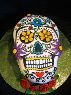 Sandra Villagomez celebrated her 50th birthday with this amazing sugar skull cake and 50 sugar skull cookies for her guests!  May 2011