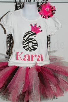Personalized Blinged Zebra Birthday Tutu Outfit by mamamadebows, $50.00