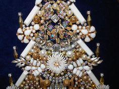 Vintage Rhinestone Jewelry Christmas Tree Framed  Art Milk Glass  13 x 10