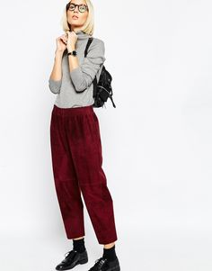 Image 1 ofASOS WHITE Trousers in Suede