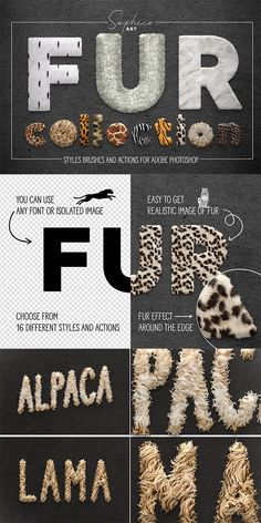 I present to you a whole fur toolkit. With it, you can easily create a variety of fur styles. Photoshop Projects, Photoshop Brushes, Photoshop Design, Photoshop Elements, Photoshop Tutorial, Free Photoshop, Graphic Design Lessons, Graphic Design Tools, Graphic Design Tutorials