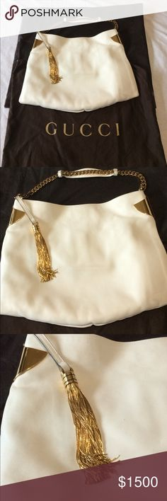 Stunning Rare Authentic White Gucci Bag Beautiful Rare Authentic White Gucci bag , used few times , has some stains that can be removed with a stain remover. Make me an offer if interested Gucci Bags Shoulder Bags