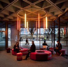 National Theatre - NT Future by Haworth Tompkins Architects | Theatres Theatre Architecture, Cultural Architecture, Contemporary Architecture, Architecture Details, Mini Clubman, Commercial Interior Design, Commercial Interiors, Museum Cafe, Foyer Design