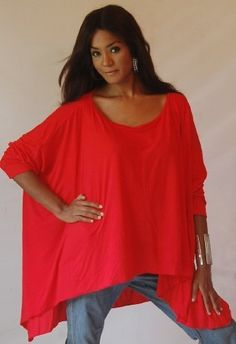 RED PONCHO SHIRT TOP STRETCH JERSEY TAPERED - FITS (ONE SIZE) - L 1X 2X 3X - Z470S LOTUSTRADERS LOTUSTRADERS. $45.99