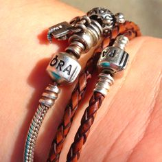Pandora Leather Braided Bracelet & Silver Charms