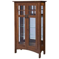 Amish Fredericksburg Curio Cabinet What will you tuck inside this lovely curio cabinet? Three adjustable glass shelves, touch lighting, option to add lock and beautiful solid wood constriction. American made wood furniture. #curiocabinet #storage