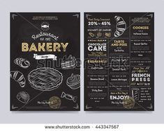 Bakery cafe menu design template. Bakery products. Vintage bakery sketch. Sweet dessert on bakery menu. Bread, cake and other bakery products. Cover design of bakery menu. Vector illustration. Bakery