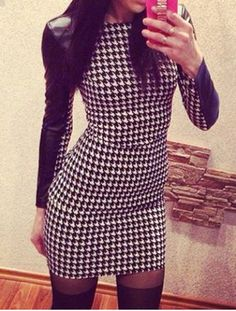 Sexy Round Collar Houndstooth Pattern PU Leather Splicing Long Sleeve Dress For Women