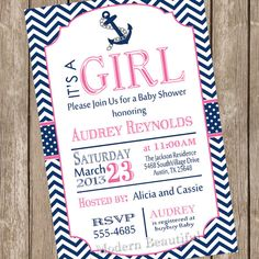 Girl Nautical baby shower invitation, pink, navy, anchor, nautical, digital file on Etsy, $13.00