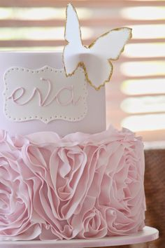 Pink, white, and gold theme this week for two separate bookings! The pretty 2-tier rosette ruffle cake featuring a wafer paper bu...