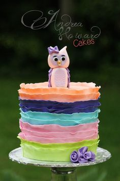 Peach, Navy, Turquoise, Pink & Lime Layered Ruffle Owl Cake
