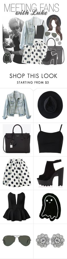 """""""meeting fans with luke"""" by fangirlsets ❤ liked on Polyvore featuring Ryan Roche, Yves Saint Laurent, Topshop, Notion 1.3 and Ray-Ban"""