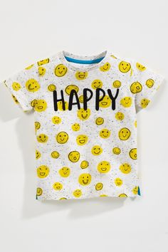 Buy Happy Smile Print Short Sleeve T-Shirt (3mths-6yrs) from the Next UK online shop smiley