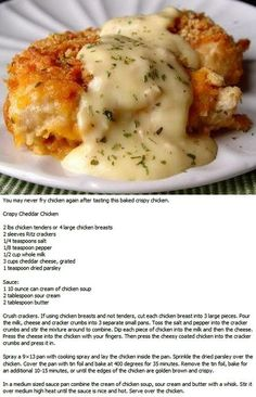Crispy Cheddar Chicken recipe This looks amazing! I cant wait to start cooking for a family of my own. XD by jewel Crispy Cheddar Chicken recipe - made this for dinner tonight and it was delish! Crispy Cheddar Chicken recipe- I highly recommend trying thi Meat Recipes, Crockpot Recipes, Cooking Recipes, Recipies, Turkey Recipes, Crispy Cheddar Chicken, Garlic Chicken, Cheesy Chicken, Recipe Chicken