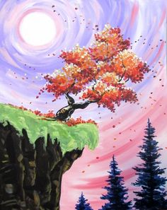 Paint Nite events near Orlando, FL, United States Easy Canvas Painting, Simple Acrylic Paintings, Acrylic Art, Diy Painting, Painting & Drawing, Canvas Art, Pastel Art, Tree Art, Painting Inspiration