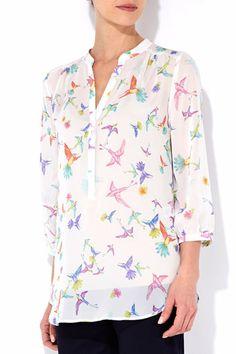 Ivory Bird Print Shirt