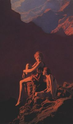Isle of Lesbos: Classical Art by Maxfield Parrish Art And Illustration, Maxfield Parrish, Albert Bierstadt, Classical Art, Art Plastique, Art Inspo, Les Oeuvres, Painting & Drawing, Art History