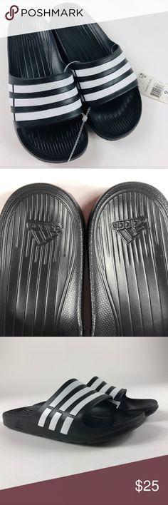 b6005282a Adidas Men s Duramo Black White Slide Sandal Adidas Men s Duramo  Black White Slide Sandal