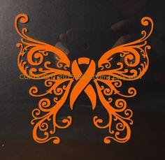 Orange Awareness Ribbon Fancy Butterfly Window by directvinyl