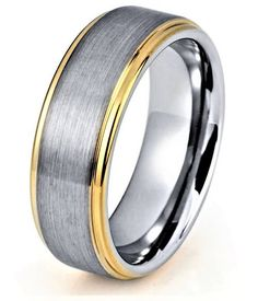 Mens Tungsten Wedding Band Yellow Gold Wedding Band Yellow