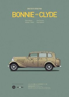 Bonnie & Clyde poster from http://www.carsandfilms.com/