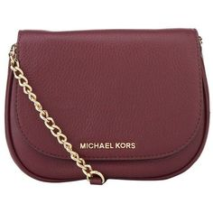 MICHAEL Michael Kors Bedford Small Cross Body Bag (£155) ❤ liked on Polyvore featuring bags, handbags, shoulder bags, purses, accessories, сумки, red crossbody purse, chain strap crossbody purse, pocket purse and chain handle handbags