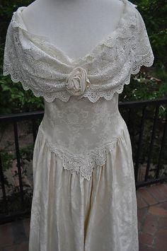 Vtg Jessica McClintock Ivory Lace Victorian Bridal Gown Dress Wedding Off Shldr | eBay