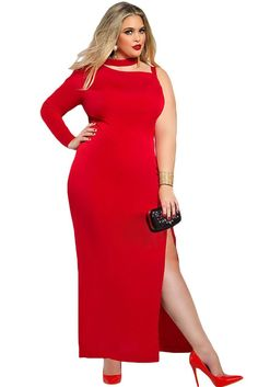 Chicloth Red One Sleeve High Slit Plus Maxi Dress