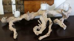 Risultati immagini per driftwood candles holders Driftwood Candle Holders, Votive Candle Holders, Votive Candles, Candle Sconces, Driftwood Wreath, Driftwood Projects, Willow House, Candle Centerpieces, Living Room Colors
