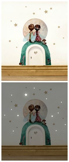 Wandtattoo Elfentür fürs Kinderzimer mit leuchtenden Sternen für die Nacht / nursery decoration: wall tattoo with little fairies and luminous stars made by deinewandkunst via DaWanda.com