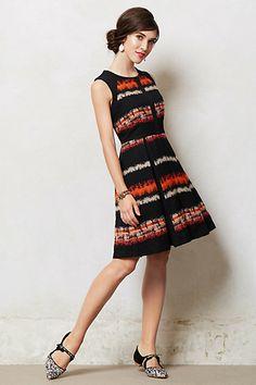 dress, black, orange, patterned, patterns, no sleeves