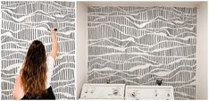 """Modern Laundry Room Refresh With Hand Drawn """"Wallpaper"""" Hand Painted Wallpaper, Hand Painted Walls, Diy Wallpaper, Painting Wallpaper, Diy Painting, Sharpie Wall, Sharpie Paint Markers, Modern Laundry Rooms, Laundry Room Design"""