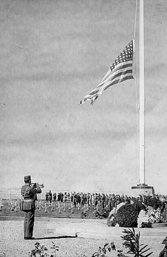 First flag-raising ceremony at Leyte Cemetery in WWII - Leyte in an island in the Philippines. The battle on Leyte and in the Leyte Gulf was one of the defining encounters of the war. Many of the US soldiers and sailors never left Leyte. Freedom is never free.   (Photo from the personal scrapbooks of Lt. Colonel O. Howard Davidsmeyer, Sr.)