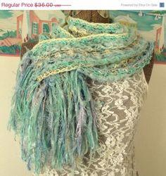 ON SALE Handmade Crochet Scarf Majestic by WildHeartYarnings