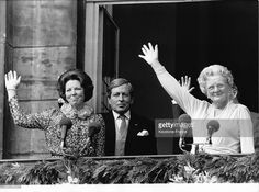 Princess Beatrix, <a gi-track='captionPersonalityLinkClicked' href='/galleries/personality/92414' ng-click='$event.stopPropagation()'>Queen Juliana</a> and Prince Claus, greeting the crowd at the balcony of Soestdijk Palace, in Baarn, Netherlands, circa 1980.