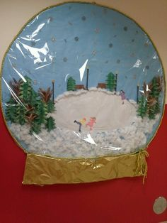 classroom paper made snowglobe Door competition:Winter Theme. Christmas Classroom Door, Office Christmas Decorations, Christmas Crafts, Holiday Decor, Vintage Christmas, Preschool Door Decorations, School Decorations, Winter Thema, Class Decoration