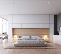 Cased wooden headboard #headboard #neutral #bedroom
