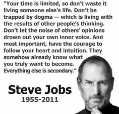 """Steve Jobs #quote """"your time is limited..."""""""
