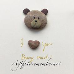 SOLD! #agifttorememberart #pebbleart #teddybear #love #etsy #etsyseller #instaart #instaphoto #makersgonnamake #roomdecor #frame #kids #handmade #unique #gift #craft #stones #beach #australia #nature #recycledart
