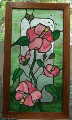 Stained Glass  Panel  Pink Althea 125 in x 22 in by windshop, $135.00