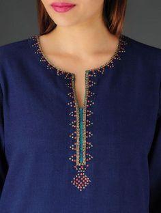 Navy Khadi Zari & Sequin Kurta Salwar Neck Designs, Neck Designs For Suits, Churidar Designs, Kurta Neck Design, Neckline Designs, Dress Neck Designs, Kurta Designs Women, Blouse Designs, Salwar Pattern