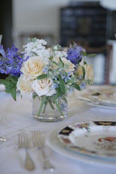 Ivory garden roses with white stock, tweedia, and delphinium - shape/textures