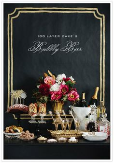 Glam backdrop to bar top... chalkboard on wall above bar cart - customize for parties