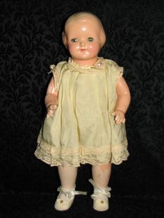 Effanbee Baby Dainty Composition and Cloth Doll - 1920's - clothes look to be all original